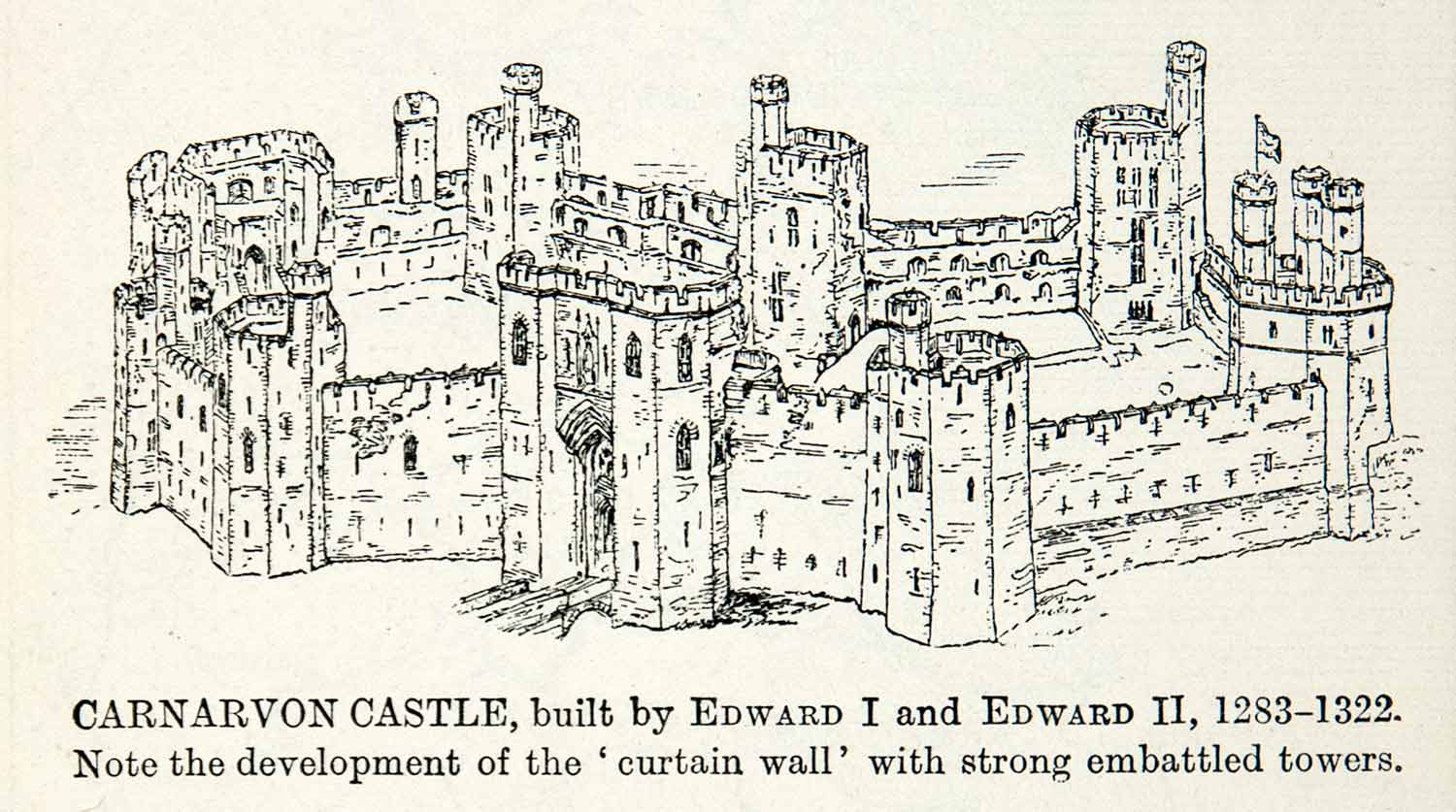 1922 Print Carnarvon Castle Curtain Embattled Tower Gwynedd Wales XEX7