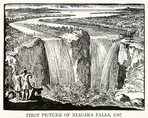 1922 Print First Picture Niagara Fall 1697 Water River Horseshoe America XEX7