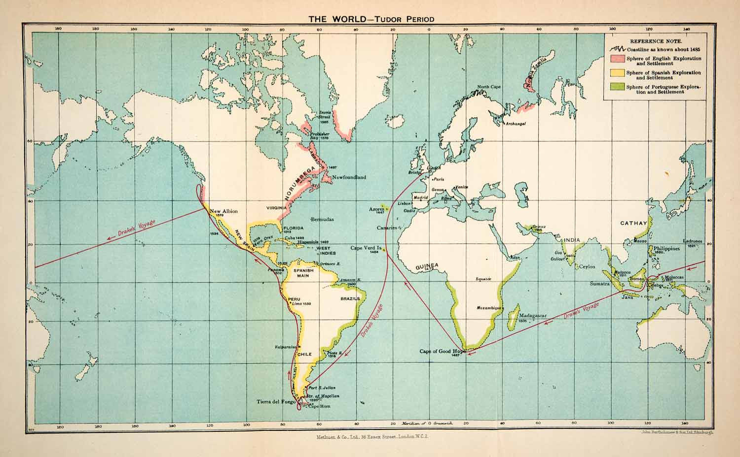 1932 Lithograph Map World Tudor Time Period Drake Voyage ... on