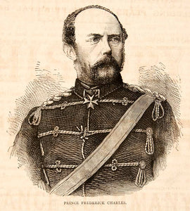 1874 Wood Engraving Portrait Costume Uniform Prince Friedrich Karl Prussia XEY1