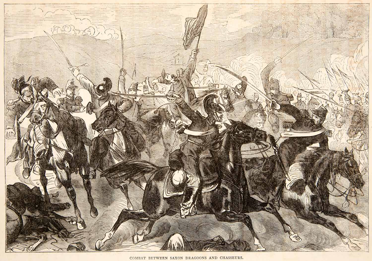1874 Wood Engraving Combat Saxon Dragoons Chasseurs Fight Battle Army XEY1