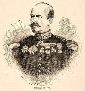 1874 Wood Engraving Portrait Costume Uniform General Louis Jules Trochu XEY1