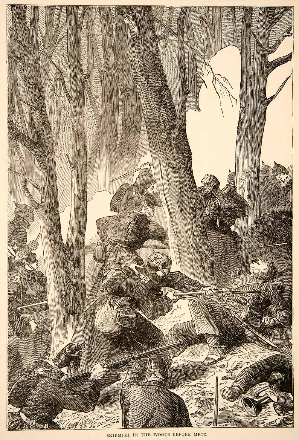 1874 Wood Engraving Skirmish Woods Metz Franco-Prussian War Soldiers Fight XEY1