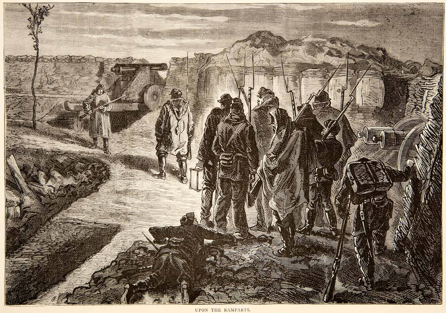 1874 Wood Engraving Franco-Prussian War Ramparts Soldiers Guns Bayonets XEY1