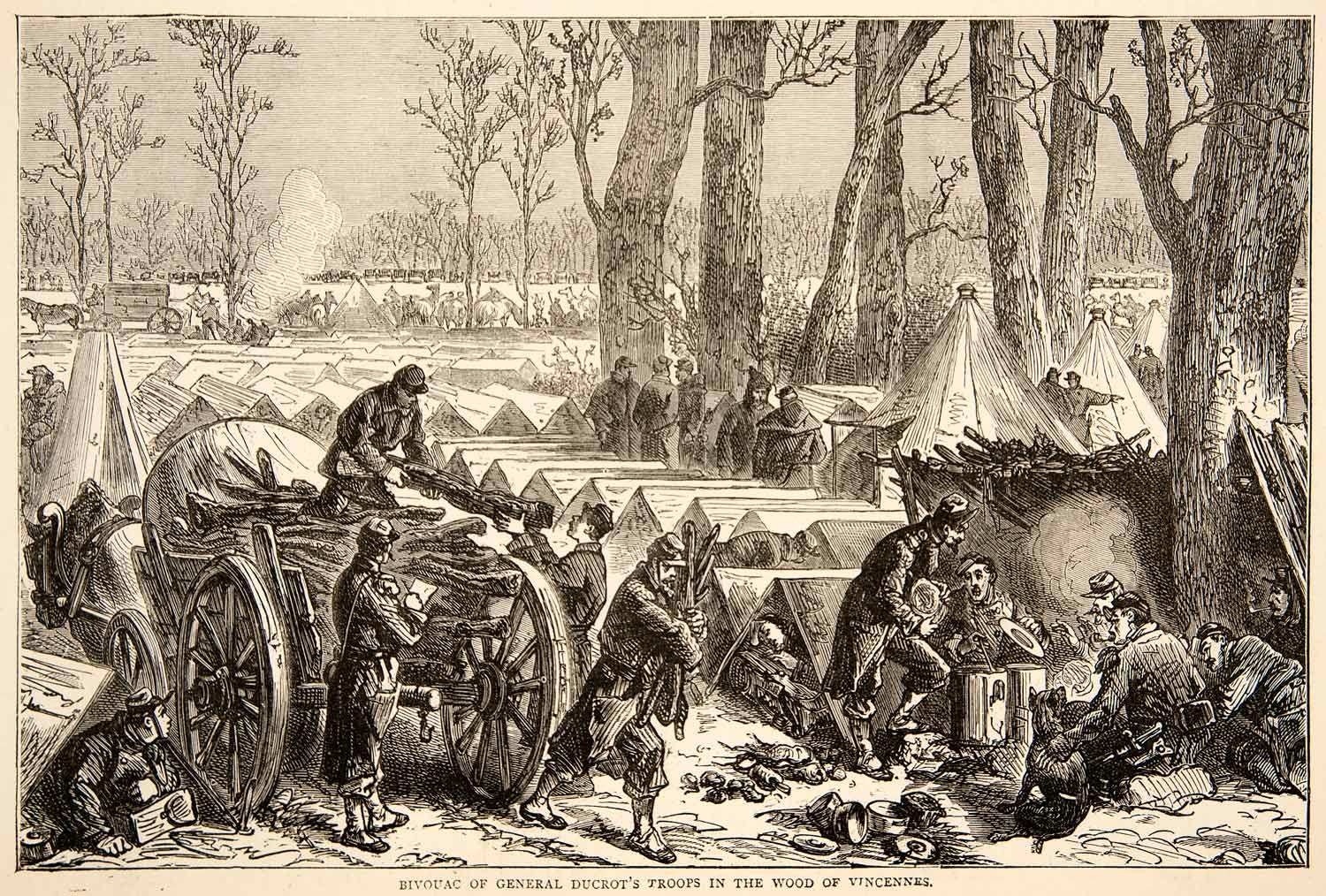 1874 Wood Engraving Bivouac General Cucrot Troops Woods Vincenne Franco XEY1