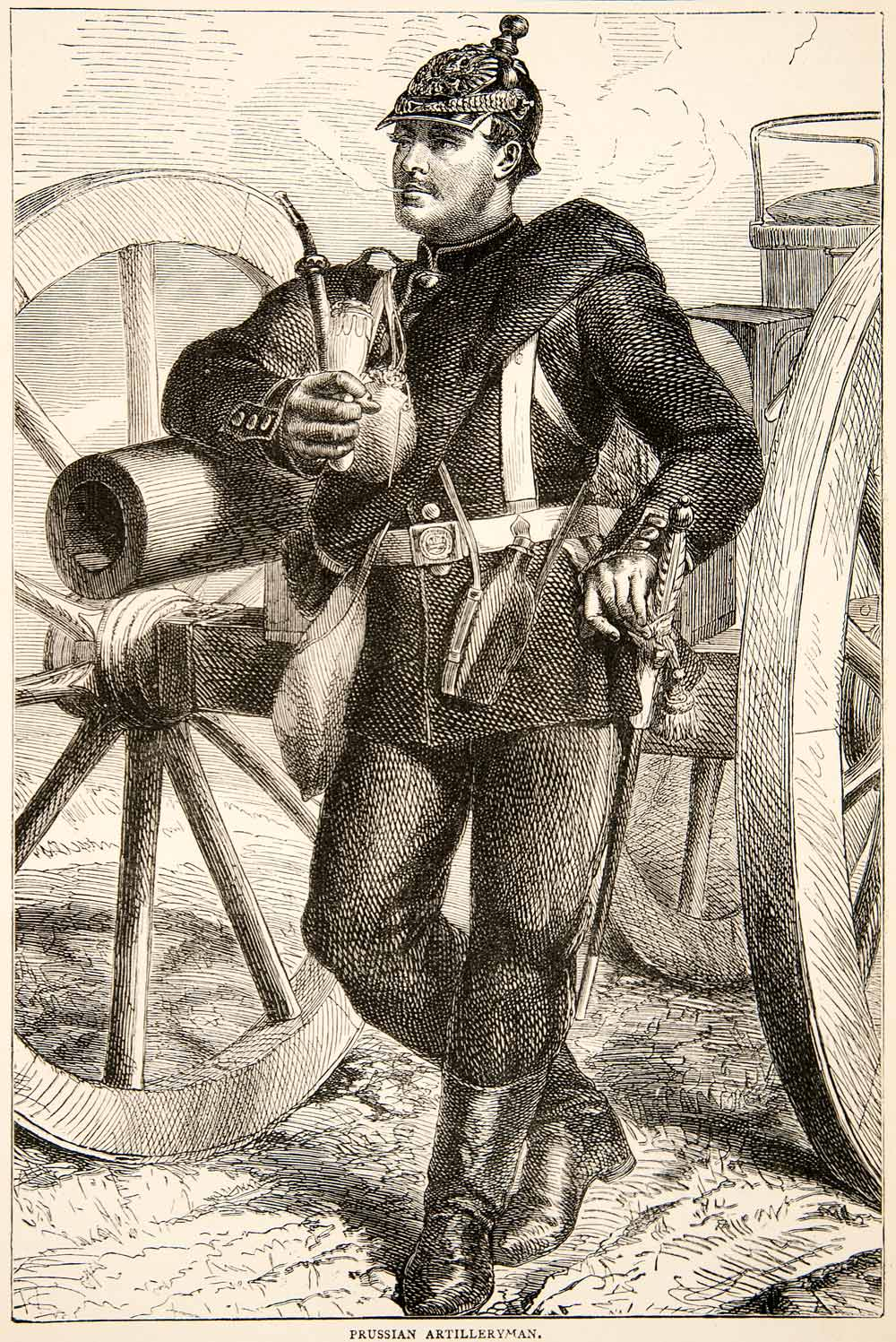 1874 Wood Engraving Portrait Costume Uniform Prussian Artilleryman Soldier XEY1