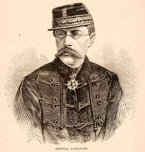1874 Wood Engraving Portrait Costume Uniform General Louis Faidherbe French XEY1