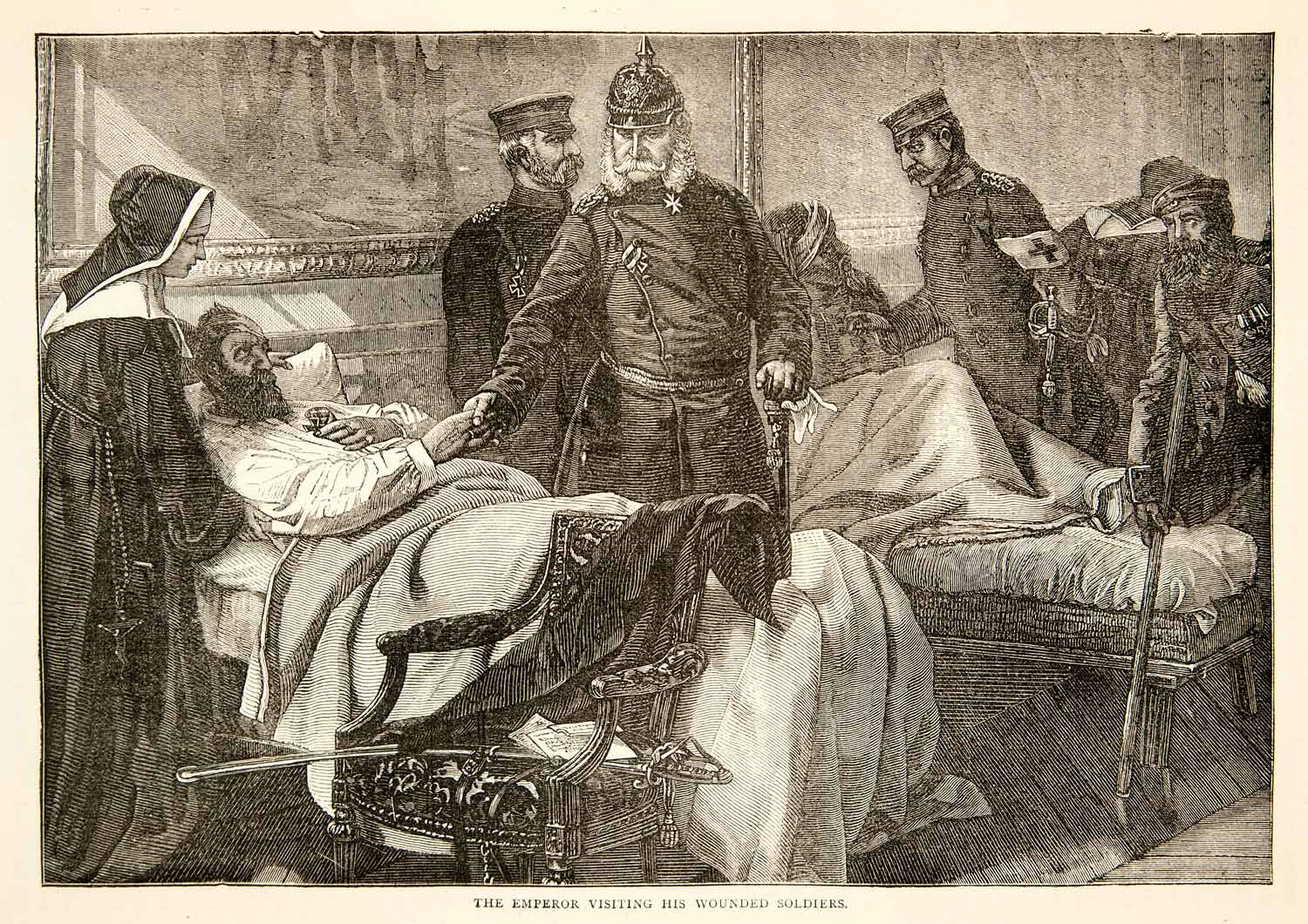 1874 Wood Engraving WIlliam I Emperor Germany Wounded Soldiers Nurse XEY1