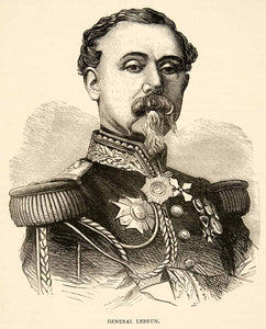 1874 Wood Engraving Portrait Costume Uniform General Lebrun French Army XEY1