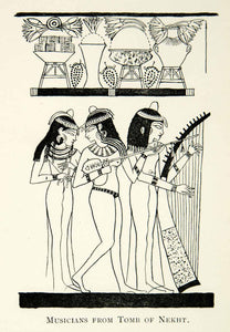 1923 Print Ancient Egyptians Musicians Tomb Nekht Harp Music Non-Royal XEZ1