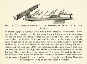 1938 Print Egyptian Shadow Clock Thutmose Crosspiece Sun Diagram Berlin XEZ5