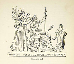 1898 Wood Engraving Throne Homer Historic Ancient Portrait Royalty Angels XEZ9
