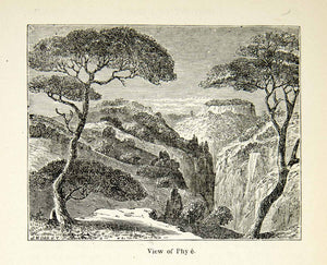 1898 Wood Engraving Phy Landscape Nature Waterfall Scenery Trees XEZ9