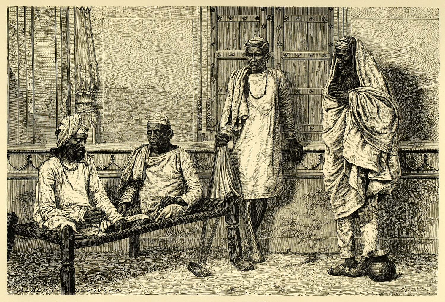 1878 Wood Engraving Religious Benares Meditation Hinduism Hindu India XGA4
