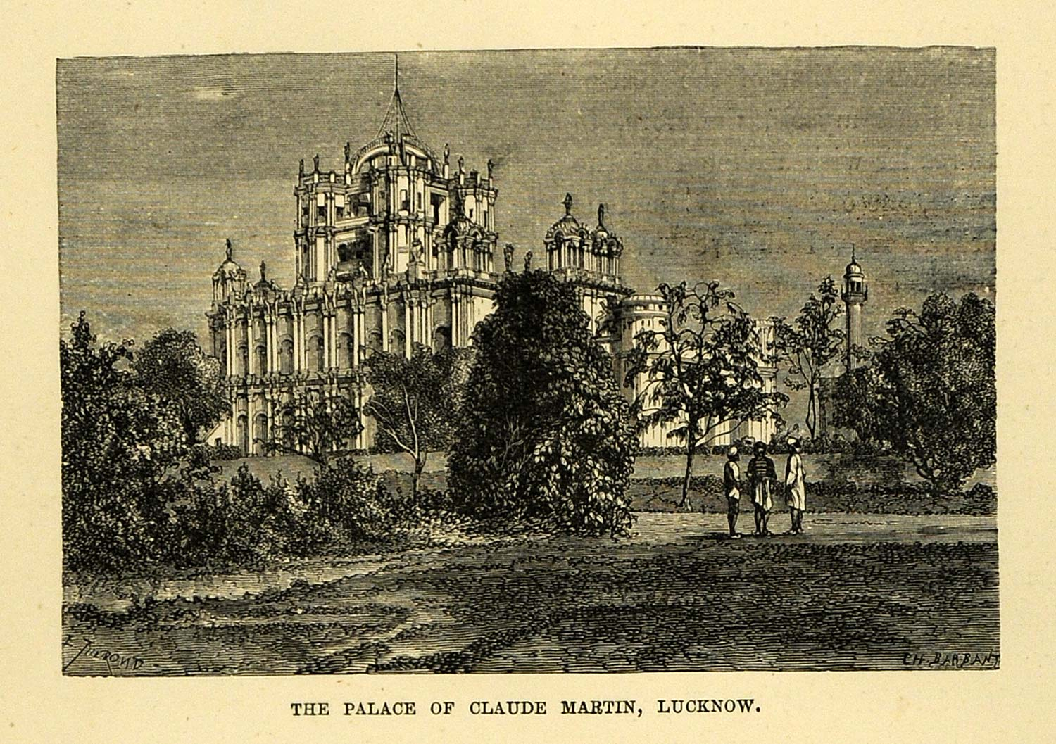 1878 Wood Engraving Palace Claude Martin Lucknow India General Architecture XGA4