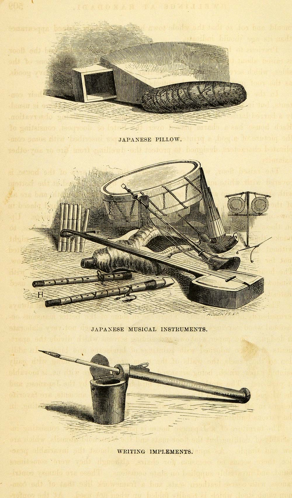 1857 Wood Engraving Native Japanese Pillow Musical Instrument Perry XGA5