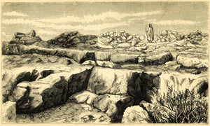 1872 Wood Engraving Cairns Muweileh Rock Formation Scenery Landscape Egypt XGA9