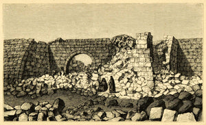 1872 Wood Engraving Gateway Gate El Abdeh Eboda Middle East Ruins XGA9