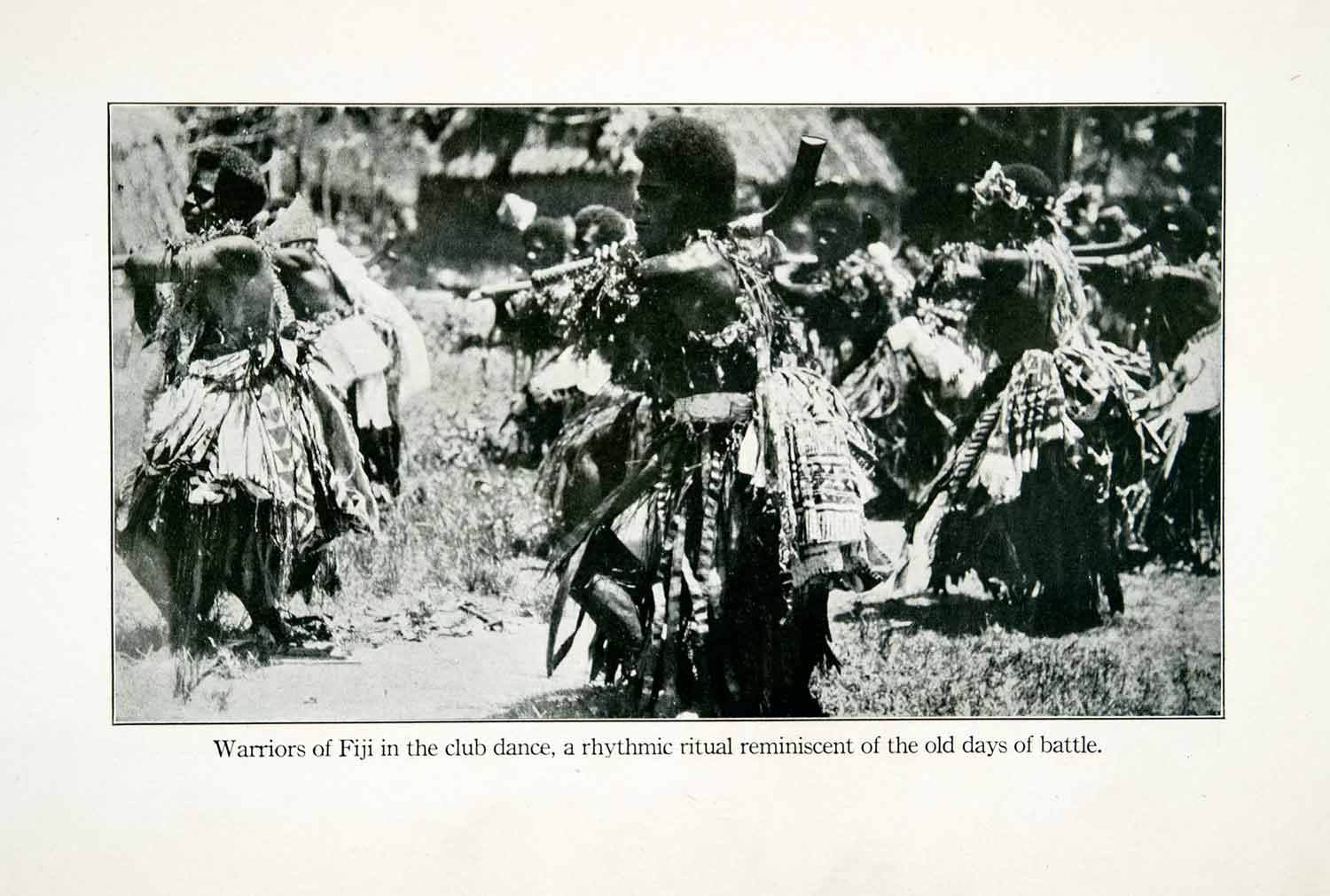 1923 Print Fiji Warriors Traditional Club Dance Meke I Wau Ritual Island XGAB4