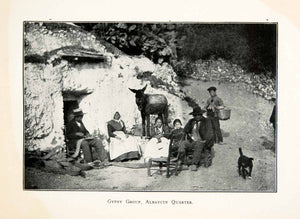 1904 Print Gypsy Group Albaycin Quarter Indiginous People Donkey Cave Dog XGAB5
