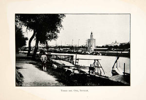 1904 Print Torre Del Oro Seville Spain Gold Tower Almohad Dynasty XGAB5