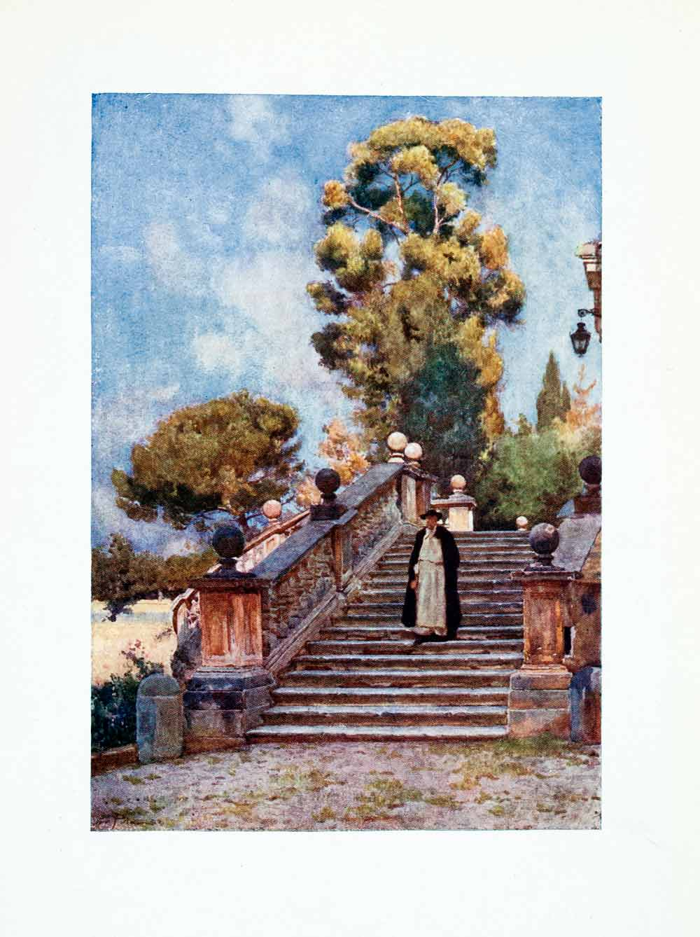 1905 Color Print Steps Church Domenico Sisto Religion Rome Italy Stairway XGAB6