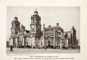 1924 Print Cathedral Assumption Mary Mexico City Church Catholicism Aztec XGAC4