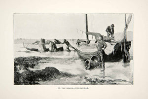 1892 Print Villerville France Beach Coastal Fisherman Sailboats Maritime XGAC6