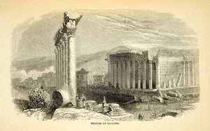 1858 Wood Engraving Art Temple Jupiter Baalbeck Lebanon Middle East XGAD7