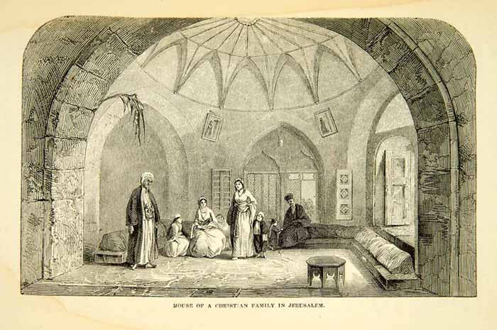 1858 Wood Engraving Art Interior Architecture House Jerusalem Israel XGAD7