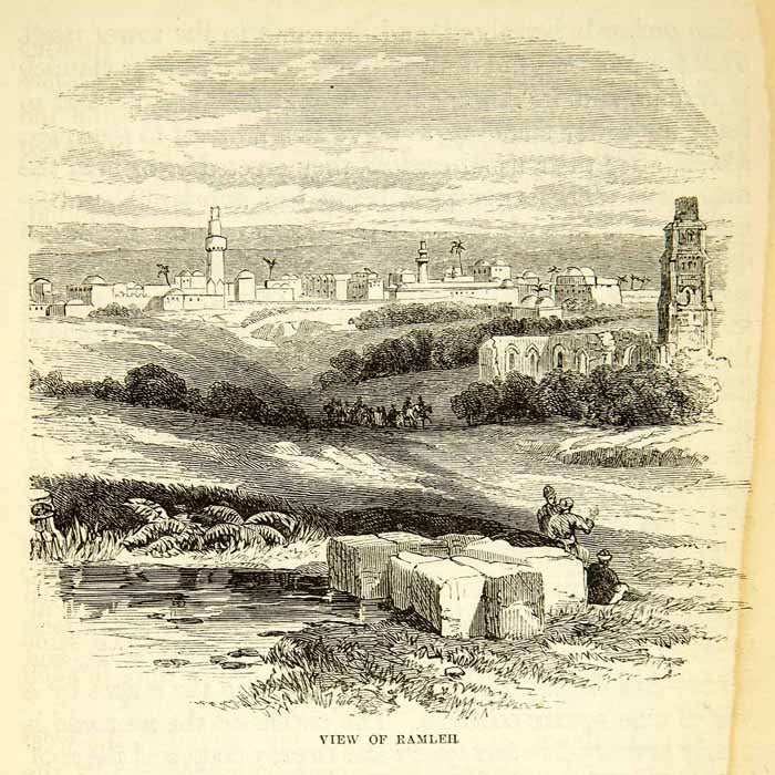 1858 Wood Engraving Art Ramla Israel Middle East Cityscape White Tower XGAD7