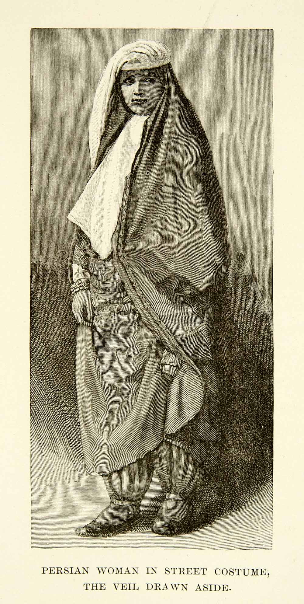 1886 Wood Engraving Photoxylograph Persian Woman Clothing Traditional XGAF5