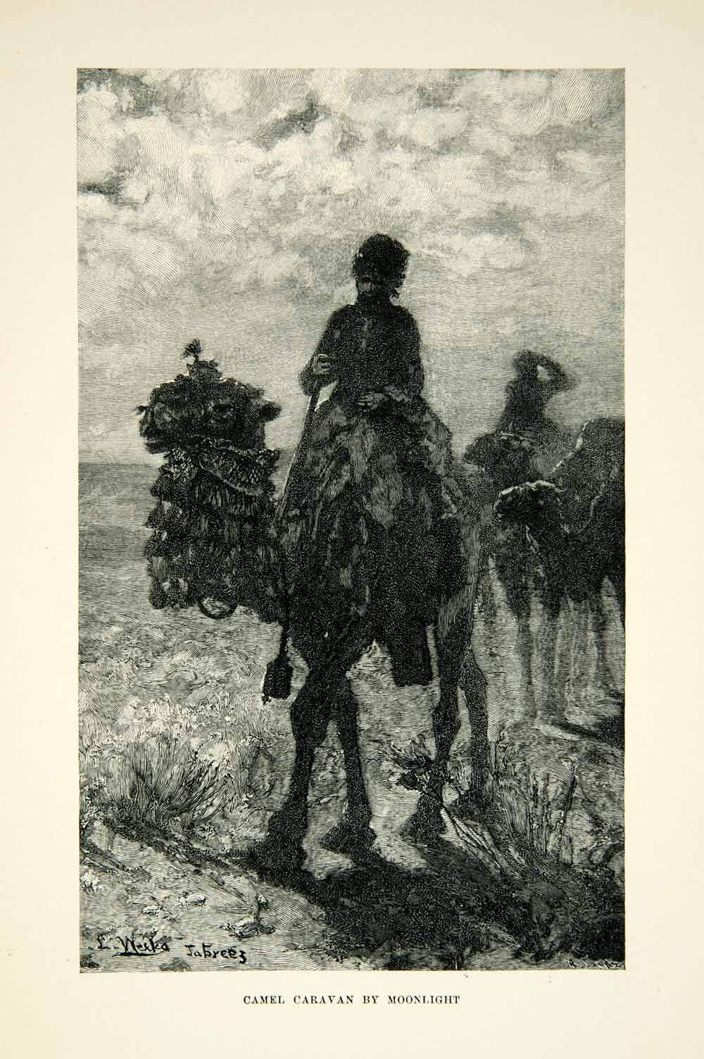 1896 Wood Engraving Camel Caravan Moonlight Desert Middle East Edwin Lord XGAF9
