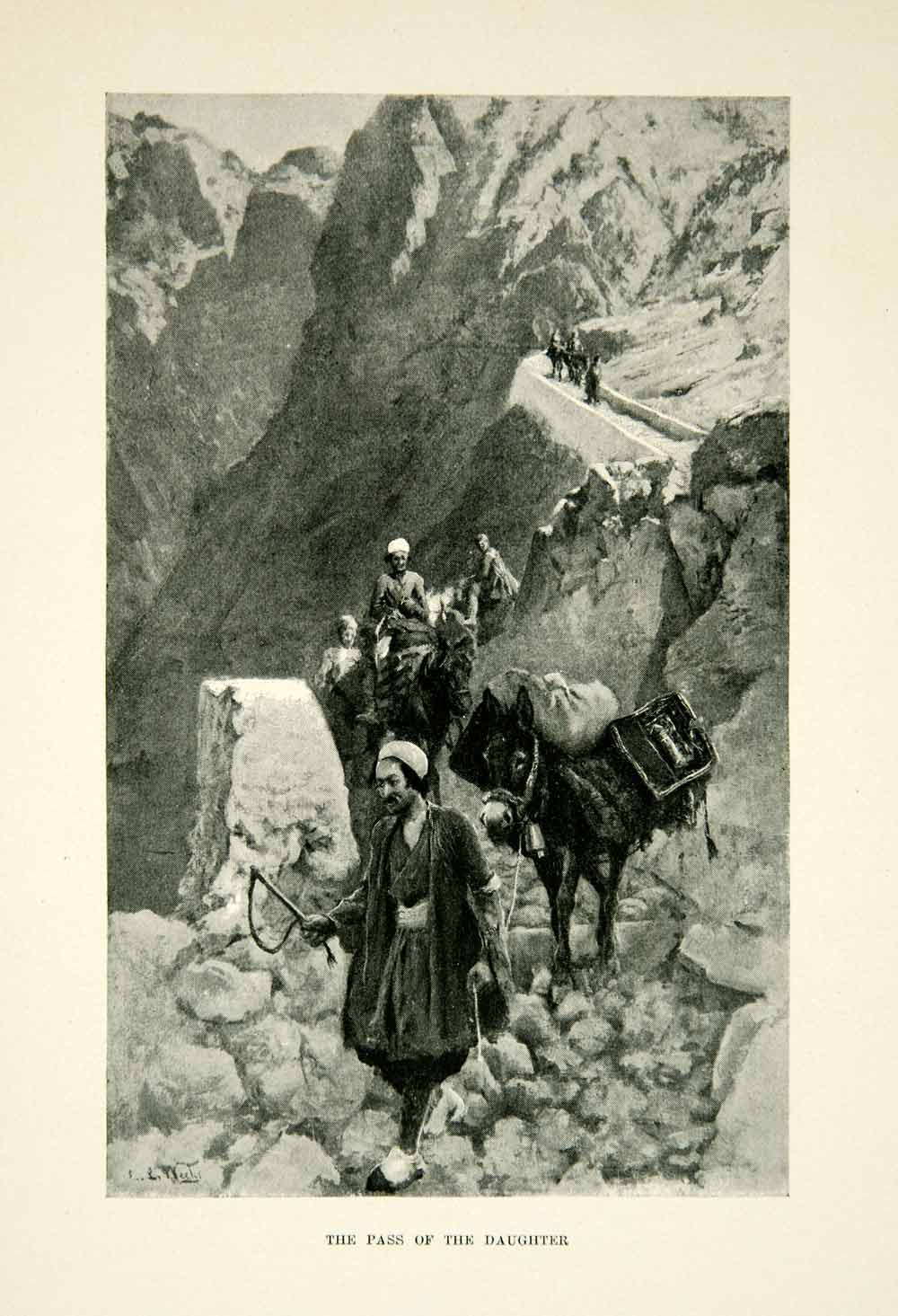 1896 Print Pass Daughter Mountain Path Arabian Iran Donkey Turban Edwin XGAF9