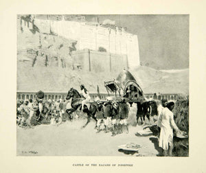 1896 Print Jodhpore Rajas Castle India Edwin Lord Weeks Fortress Carriage XGAF9