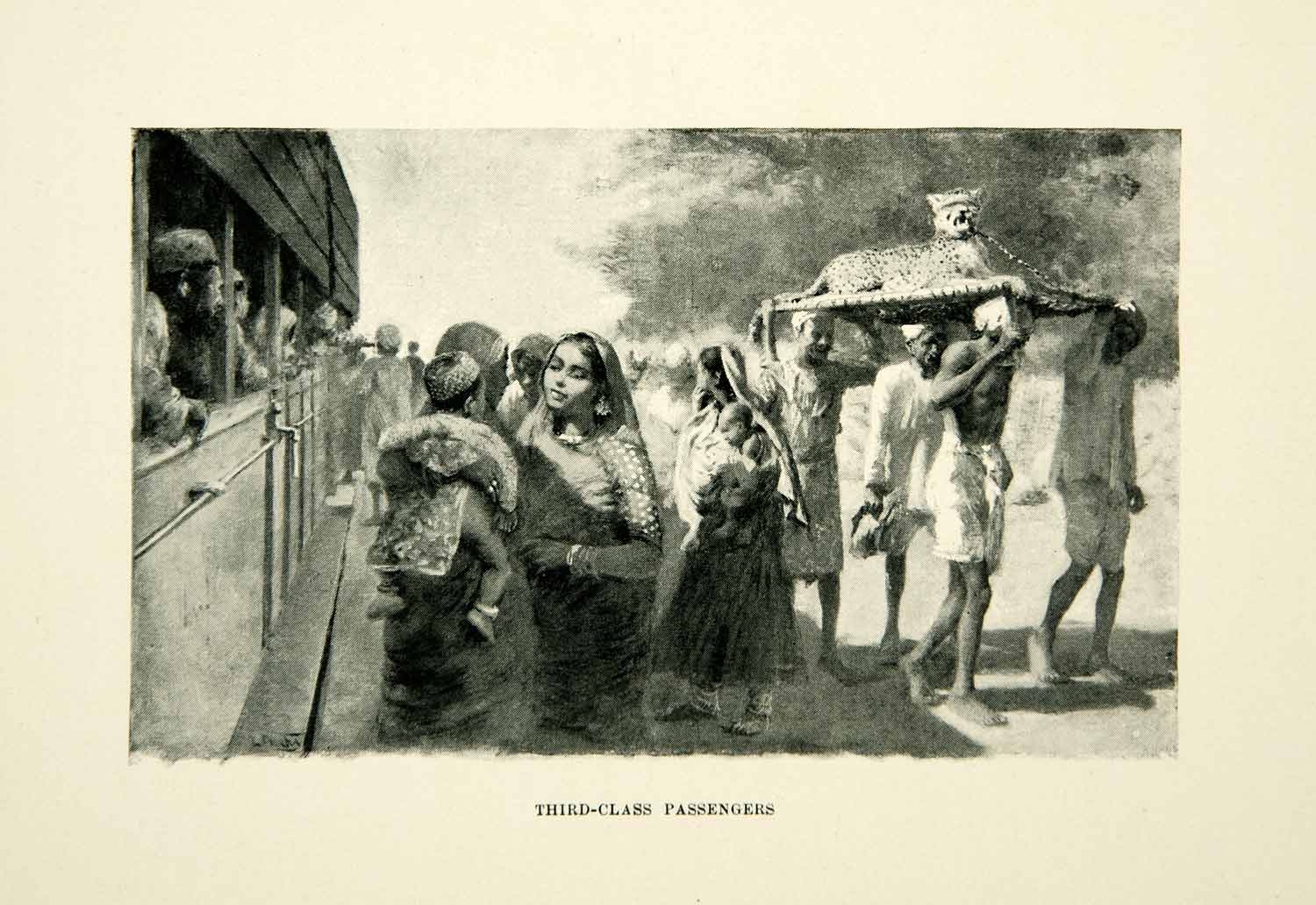 1896 Print Third Class Passengers Railroad Bikanir India Edwin Lord Weeks XGAF9