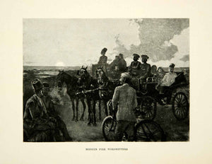 1896 Print Fire Worshippers India Carriage Horse Lord Edwin Weeks XGAF9