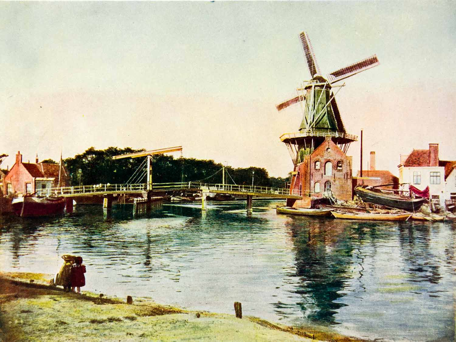 1924 Print The Hague Holland Netherlands Europe Dutch Windmill North Sea XGAG1