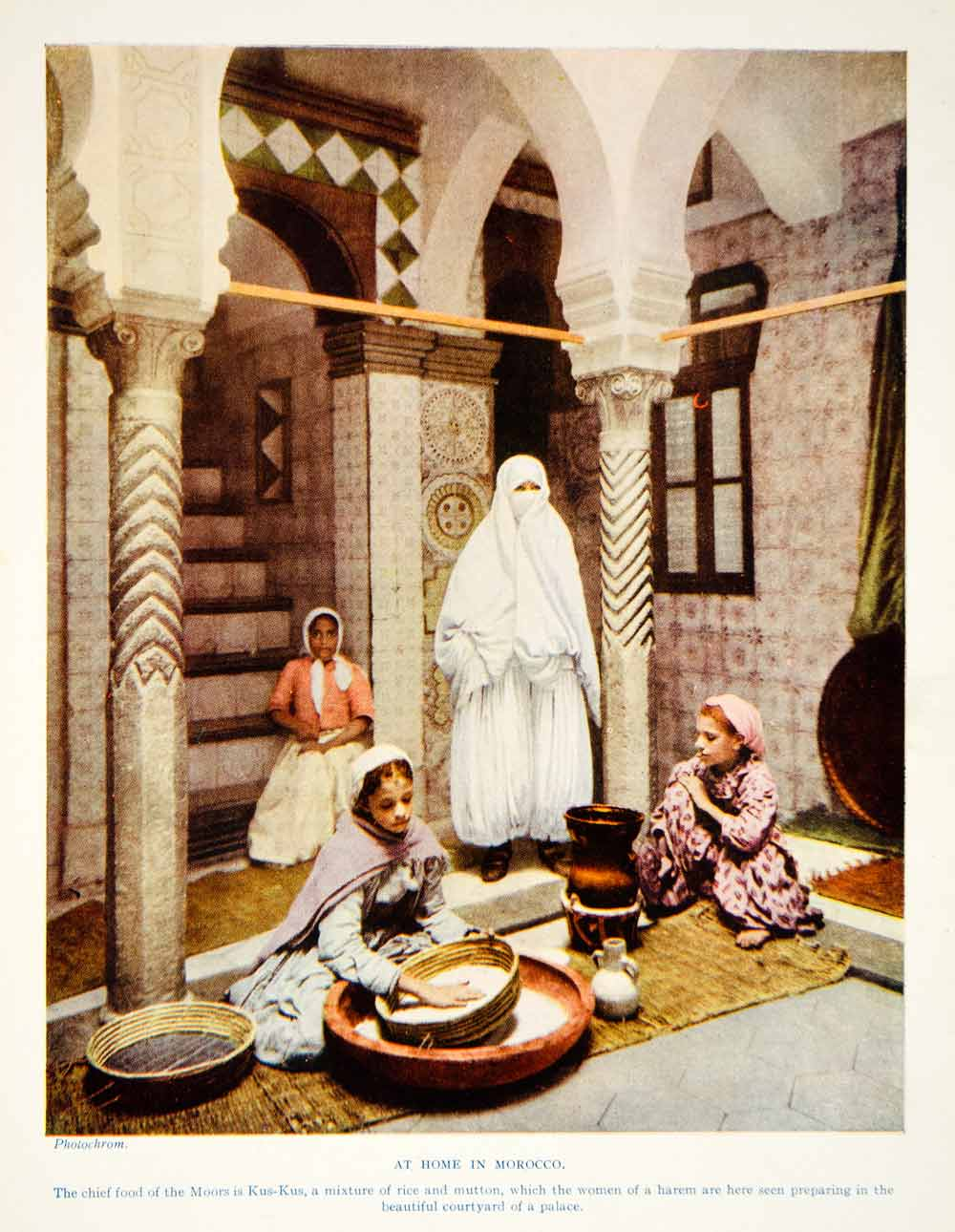 1924 Print Morocco North Africa Women Harem Interior Cooking Kus-Kus Moors XGAG1