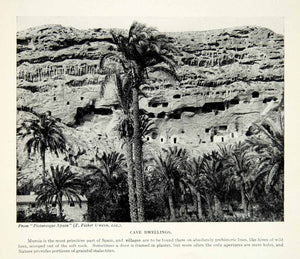 1924 Print Murcia Spain Europe Prehistoric Cave Dwellings Archaeology Palm XGAG1