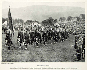 1924 Print Braemar Aberdeenshire Scotland UK Festival Games March XGAG1