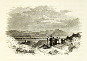 1859 Wood Engraving Mount Pisgah Nebo Landscape Biblical Landmark Arab XGAG3