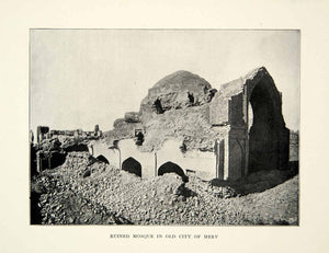 1899 Print Merv Ruined Mosque Turkmenistan Archaeology Achaemenid Empire XGAG8