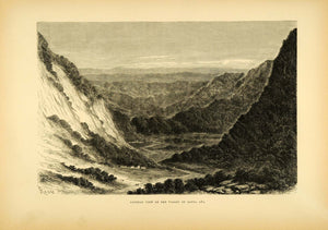 1875 Wood Engraving Valley Santa Ana Peru La Convencion Province Mountains XGB3