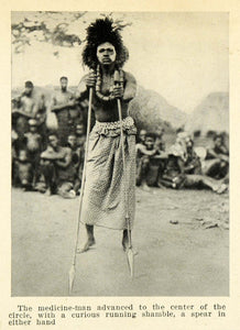 1925 Print Medicine Man Congo Africa Spear Costume Fashion Face Paint XGB6 - Period Paper