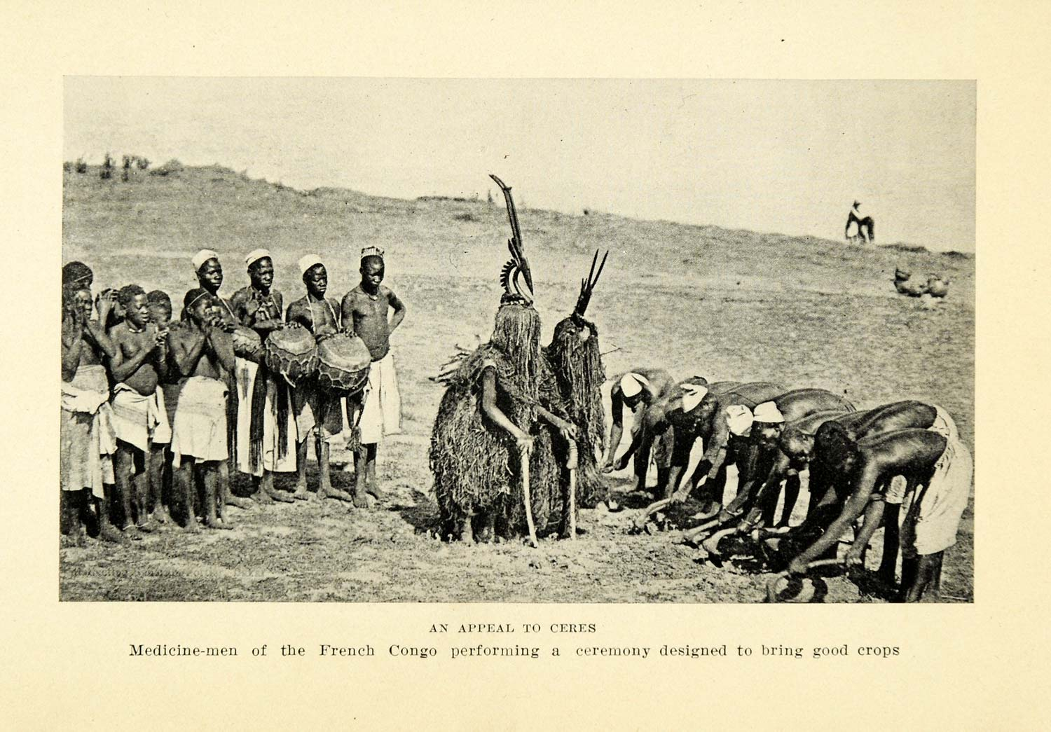 1925 Print Ceres Medicine Man French Congo Crops Farming Dance Culture XGB6