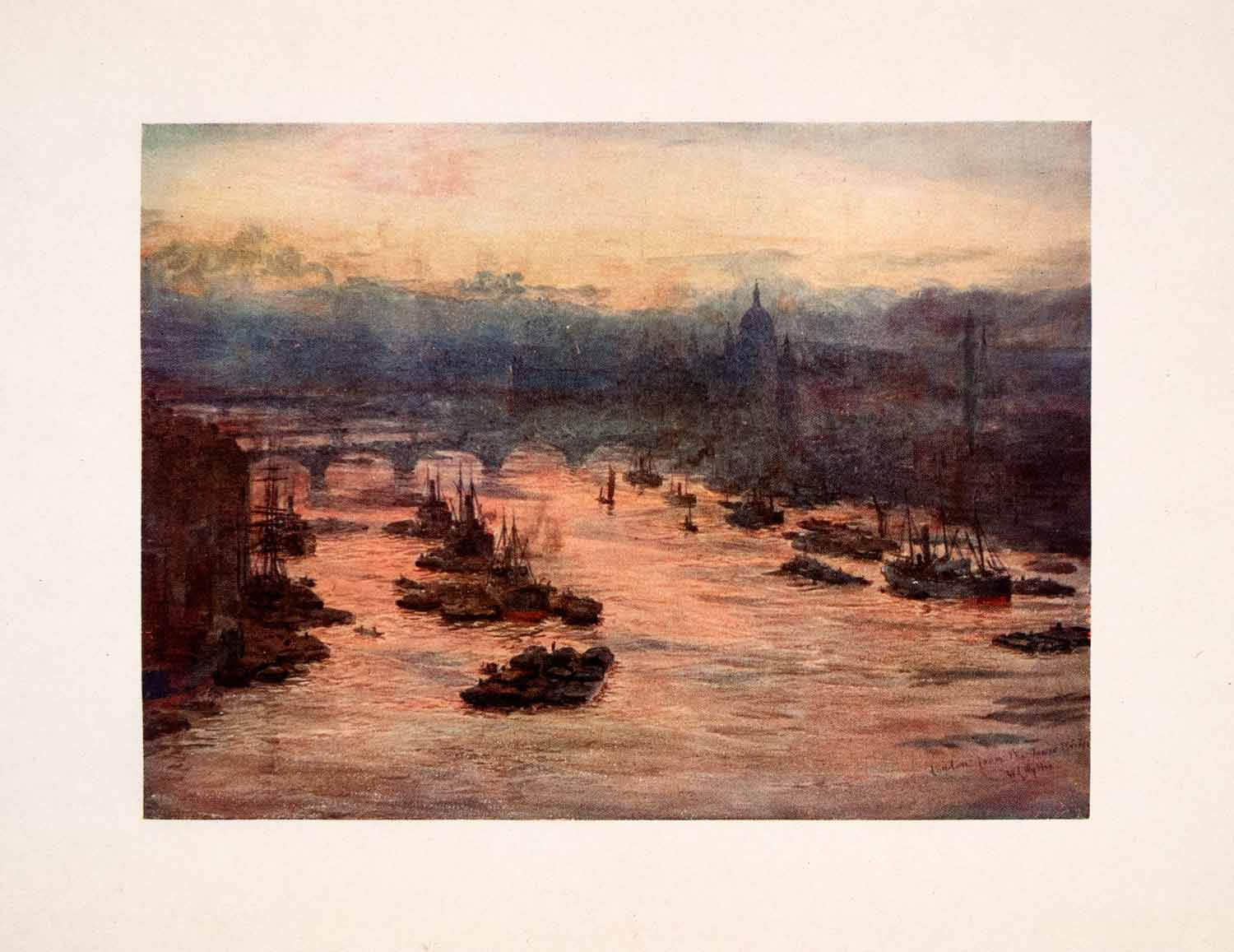 1905 Print London Bridge Thames St. Paul's Cathedral William Lionel Wyllie Art