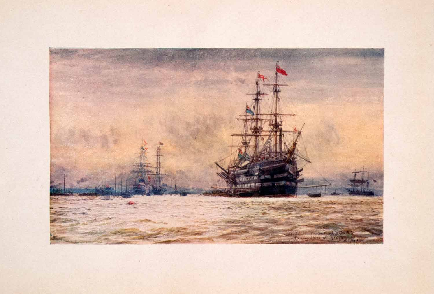 1905 Print HMS Exmouth Shaftesbury Grays Royal Navy William Lionel Wyllie Art