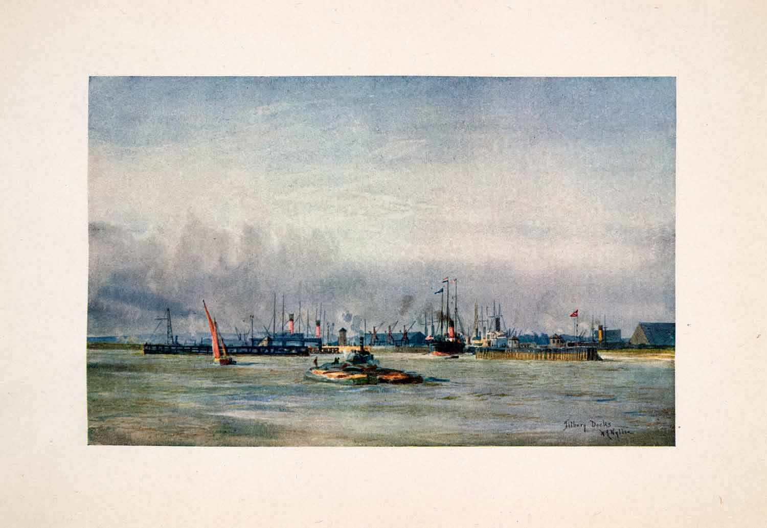 1905 Print Allan Line Ship Tilbury Docks Thames River William Lionel Wyllie Art
