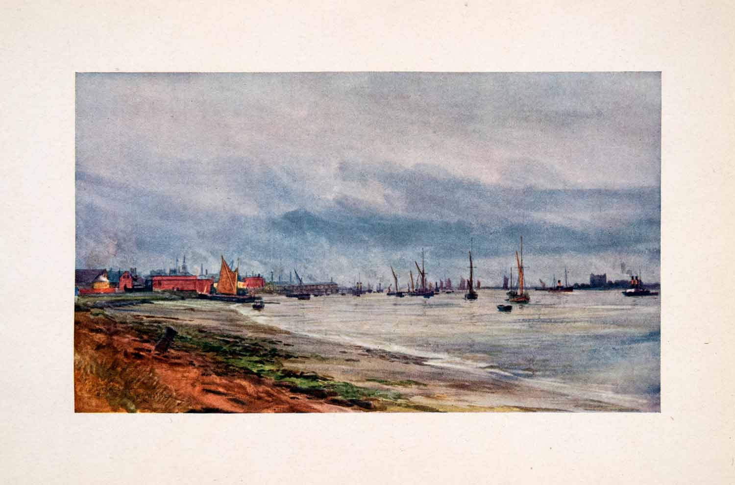 1905 Print Gravesend Kent England Thames River Shore William Lionel Wyllie Art
